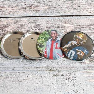 3.5″ Photo Buttons (showing metal pinback)